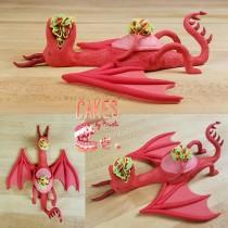 wedding photo - Fondant Dragons Love Tacos Cake Topper (MADE TO ORDER)