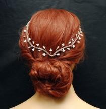 wedding photo - Wedding Headband, Hair Jewelry Rose Gold Bridal Hair Vine, FREE SHIPPING Pearl Wedding Headpiece, Crystal Hair Vine, Rhinestone Headpiece, Hair Jewelry - $52.00 USD