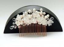 wedding photo - Floral Pearl Wedding Hair Comb, Hair Jewelry Rose Gold Bridal Comb, Pearls Hair Comb, Crystal Headpiece, Statement Headpiece, Ayansiweddingdesigns - $60.00 USD
