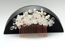 wedding photo - Floral Pearl Wedding Hair Comb, Hair Jewelry Rose Gold Bridal Comb, Pearls Hair Comb, Crystal Headpiece, Statement Headpiece, Ayansiweddingdesigns - $60.00 USD