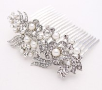 wedding photo - Wedding hair piece Bridal comb Wedding comb Wedding hair accessories Bridal hair Pearl hair comb Rhinestone comb crystals  Bridesmaids comb
