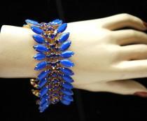 wedding photo - FREE SHIPPING Blue Rhinestone Bracelet, Prom Cuff Bracelet, Gold Bracelet, Prom 1920s Crystal Bracelet, Something Blue Bracelet - $34.00 USD