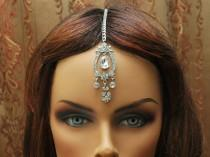 wedding photo - FREE SHIPPING Jewelry Tikka Headpiece, prom, Hair Chain Accessory, Bridal Headpiece, Crystal Maang Tikka, Chain Headpiece, Bollywood Jewelry - $22.00 USD