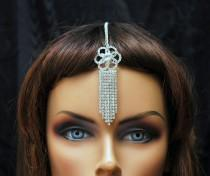 wedding photo - FREE SHIPPING Silver Tikka Headpiece, Hair Jewelry Crystal Bridal Chain Headpiece, Bollywood Maang Tikka Headpiece, Gypsy Jewelry, Tribal Jewelry - $20.00 USD