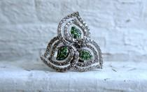 wedding photo - Vintage 14K White Gold Diamond and Emerald Leaf Ring - 1.06ct.