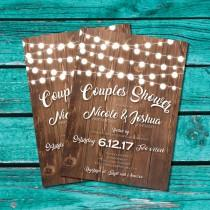 wedding photo - Couples Shower Invitation, Bridal Shower Invite, Rustic Shower, Country Wedding, string lights,  Printable invitation, instant download