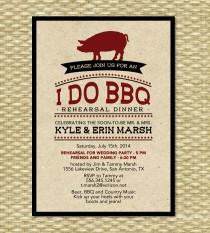 wedding photo - Rustic I Do BBQ Rehearsal Dinner Invitation Rustic Kraft BBQ Engagement Party Pig Roast Wedding Shower Invite, Any Color Scheme, Any Event