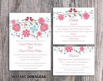 wedding photo - Wedding Invitation Template Download Printable Invitations Editable Boho Wedding Invitation Bird Invitation Colorful Floral Invitation DIY - $15.90 USD