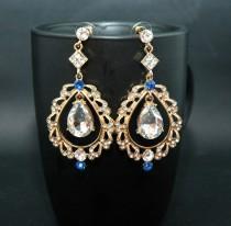 wedding photo - FREE SHIPPING Gold Bridal Earrings Wedding Earrings Blue Chandelier Earrings, Prom Earrings, Royal Blue Earrings, Blue Jewelry, Prom Jewelry - $38.00 USD