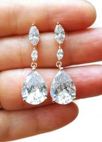 wedding photo - FREE SHIPPING Teardrop Bridal Earrings Wedding Earrings CZ Earrings Rose Gold Earrings Prom Earrings, Wedding Jewelry, Prom Earrings - $38.00 USD