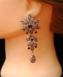 wedding photo - FREE SHIPPING Prom Purple Earrings Crystal Earrings Chandelier Earrings, Formal Jewelry, Flower Earrings, Silver Prom Jewelry, Prom Earrings - $38.00 USD
