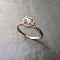 wedding photo - Grey Rose Cut Diamond Ring - Clear Grey Diamond, Diamond Halo, Modern Rustic Diamond, 14K White Gold, Diamond Halo Ring, Engagement Ring