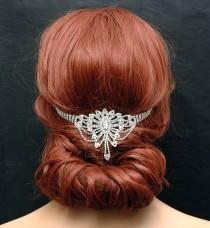 wedding photo - Art Deco Bridal Headband, Wedding Hair Piece, Bridal Headpiece, Prom Crystal Hair Chain, Wedding Headband, Boho Head Piece, Hair Jewelry - $35.00 USD