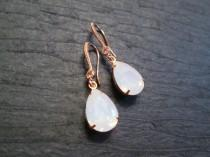 wedding photo - Rose Gold Swarovski Earrings/Rose Gold Bridesmaid Earrings/Wedding Jewelry/Pink Opal Rose Gold Earrings/Pink Opal Earrings/Rose Gold Bridal