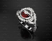 wedding photo - 2.20ct Pokeball and Ruby Solid White Gold Ring