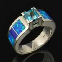 wedding photo - Lab Created Opal Engagement Ring with Topaz and Lapis in Sterling Silver by Hileman Silver Jewelry