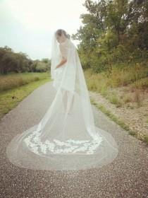 wedding photo - Bridal  veil, cathedral long veil with lace flower and blusher  layer -- style 368