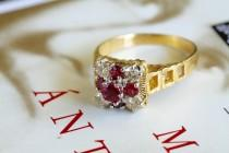 wedding photo - Clearance--30% off! Victorian Revival Ruby Diamond Engagement Ring, Etruscan Revival Statement Ring, 18k Gold Natural Ruby Ring