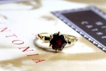 wedding photo - Vintage 1.25ct Garnet Engagement Ring, Art Deco Style Garnet Ring, 9ct Gold Statement Ring, Hexagon Garnet Ring, Alternative Engagement Ring