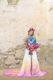 wedding photo - Dia De Los Muertos Inspired Painted Wedding Dress