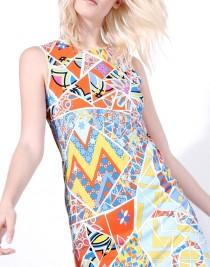 wedding photo - Emilio Pucci Orange Turquoise Mosaico Print Short Dress