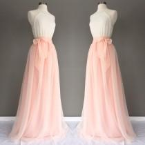 wedding photo - WINTER MELON chiffon skirt, any length and color blush Bridesmaid skirt, floor length, tea length, knee length empire waist  chiffon skirt