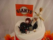 wedding photo - Fun Groom Wedding Cake Topper San Francisco Giants Baseball Fan Sports Custom Personalize Groom's Cake Wedding Decoration