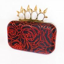 wedding photo - Minaudière Silk Clutch Box Bag,  Evening, Purse Spikey Knuckleduster Punk Black & Red Roses  'McQueen' *handmade *gift *Gothic wedding