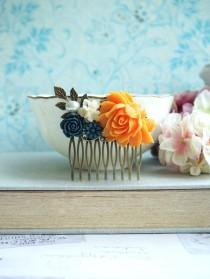 wedding photo - Orange Wedding Comb Navy Orange Floral Comb Orange Dark Blue Flower Hair Piece Orange Rose Comb Orange Fall Rustic Wedding Bridesmaid Gift