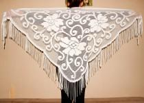wedding photo - White Lace Shawl Fringe Belly Dance Scarf Triangular Floral Scarf Vintage Bohemian Style Shawl Gypsy Dancing Accessory Hip Flamenco Shawl - $38.00 USD