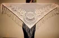 wedding photo - Ivory Lace Shawl with Fringe Belly Dance Scarf Bohemian Lace Scarf Disco era Triangle Shawl Evening Wrap Gypsy Lace Shawl Dancing Accessory - $25.00 USD