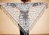 wedding photo - Gray Lace Shawl Gypsy Lace Shawl Bohemian Style Boho Fashion Gypsy Festival Hippie Shawl with Fringe Lace Wedding Shawl Dancing Accessory - $18.00 USD