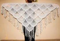 wedding photo - Light Gray Lace Shawl Triangular Evening Wrap Grey Fringed Scarf Festival Gypsy Women Fashion Scarf Bridal Lace Shawl Bohemian Style Shawl - $28.00 USD