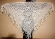 wedding photo - White Shawl with Fringe Bohemian Lace Shawl Evening Wrap Shawl Belly Dance Scarf Triangular Floral Scarf Rustic Wedding Bridesmaid Scarf - $36.00 USD