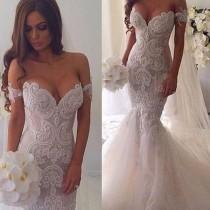 wedding photo - New Vintage Mermaid Off The Shoulder Formal Lace Charming Wedding Dresses. AB0220