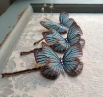 wedding photo - Hand Cut silk butterfly hair pin - Dusky Blue Sparkles