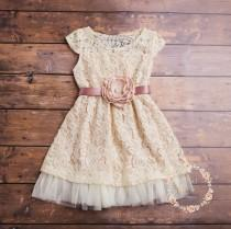 wedding photo - Cream flower girl dress, lace baby dress, rustic flower girl dress, country flower girl dress,Easter dress,junior bridesmaid,lace dress.
