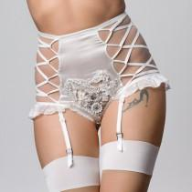 wedding photo - Alexina Bridal Ivory silk and heart crochet embroidery suspender high brief short, white wedding lingerie