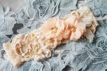 wedding photo - Bridal Garter Wedding Garter Peach Garter Salmon Garter - Lace Garter Belt Flower Garter Rustic Garter Prom Garter Rhinestones Boho Garter