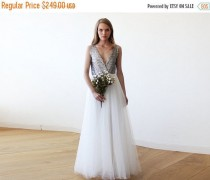 wedding photo - Women Day Sale Silver sequins bridal tulle gown, Tulle and sequins wedding gown 1094