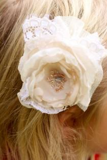 wedding photo - ivory and cream wedding flower hair clip, photo prop, flower girl hair clip, shabby chic wedding hair clip, vintage lace flower, ivory hair