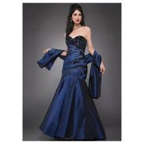 wedding photo - Striking Taffeta & Lace Mermaid Strapless Sweetheart Neckline Full Length Mother of the Bride Dress And Shawl - overpinks.com