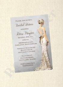wedding photo - Elegant Bridal Shower Invitation / Gray / Wedding Dress Profile / Gorgeous Bride / Digital / Custom