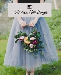 wedding photo - DIY Silk Flower Hoop Bouquet