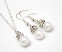 wedding photo - Set of 3.4.5.6.7.8Bridesmaid Necklace & Earrings, Sterling Silver Chain, Pearl and Rhinestone Necklace, Pearl Necklace, Necklaces Gift Ideas