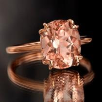wedding photo - Peach Pink Morganite Rose Gold Ring, Oval Cut Tulip Solitaire Engagement Ring