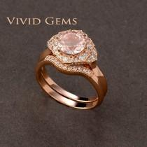 wedding photo - 1.25 Carat Pink Morganite Bridal Set, Rose Gold Flower Engagement Ring, Rose Gold Band, Morganite Flower Ring