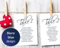 wedding photo - Navy Table Seating Cards 1-40 Template, Seating Chart, DIY Table Cards, Table Numbers 5x7, Seating Plan, Printable Table Cards  - $9.50 USD