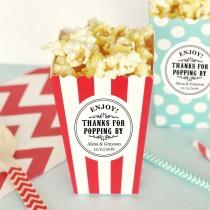 wedding photo - Thanks for Popping By Template ~ Printable Round Label ~ Mason Jar Favor Gift Sticker Tag ~ Popcorn Favor - $6.50 USD