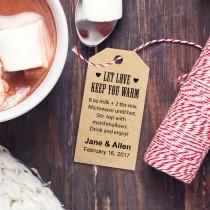 wedding photo - Hot Chocolate Favors Recipe Tag, THREE Template Sizes, Let Love Keep You Warm Custom Tags, DIY Printable Favor Tags, Gift Tags, Wedding Tags - $6.50 USD
